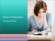 Lady reads an interesting book PowerPoint Templates