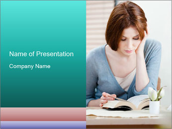 Lady reads an interesting book PowerPoint Template - Slide 1