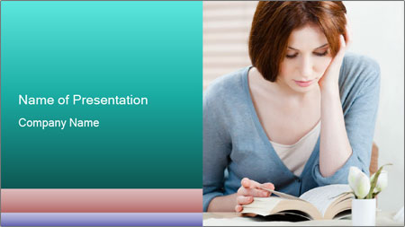 Lady reads an interesting book PowerPoint Template