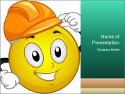 Smiley Wearing a Hard Hat PowerPoint Templates