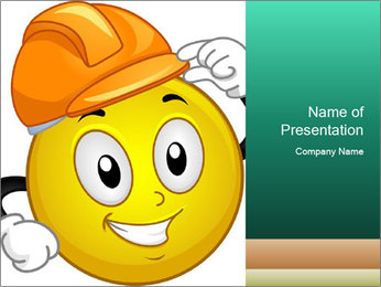 Smiley Wearing a Hard Hat PowerPoint Template - Slide 1