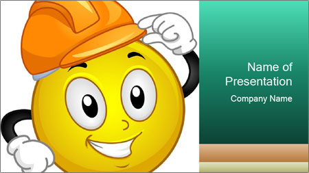 Smiley Wearing a Hard Hat PowerPoint Template