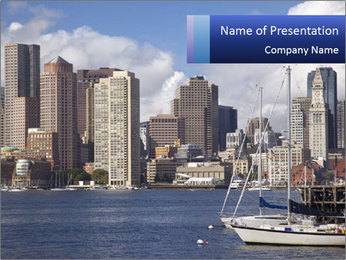 Boston skyline PowerPoint Template - Slide 1