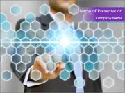 Businessman touching PowerPoint Template