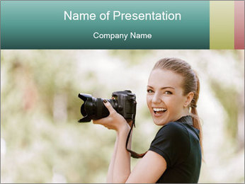 Beautiful smiling woman PowerPoint Template - Slide 1