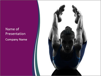 Woman exercising yoga PowerPoint Template - Slide 1