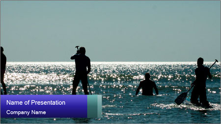 Group on the water PowerPoint Template