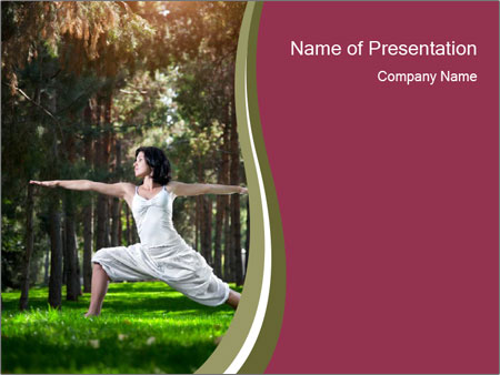 Yoga virabhadrasana PowerPoint Template
