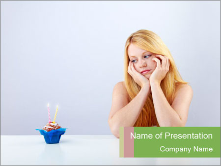 Beautiful sad woman PowerPoint Templates