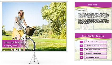 Woman riding a bicycle PowerPoint Template