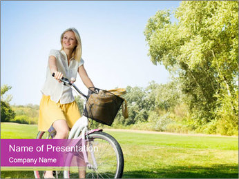 Woman riding a bicycle PowerPoint Template - Slide 1