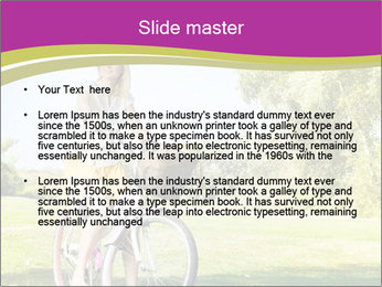 Woman riding a bicycle PowerPoint Template - Slide 2