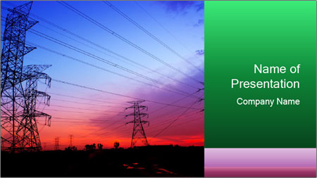 Electricity pylons PowerPoint Template