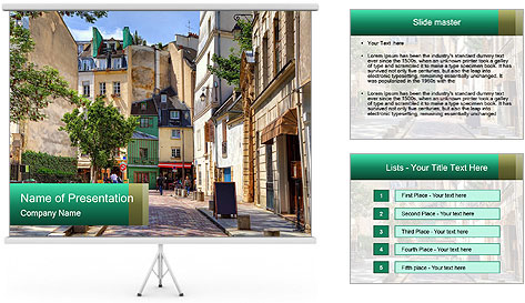Street among traditional parisian PowerPoint Template