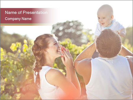 Young and happy family PowerPoint Template