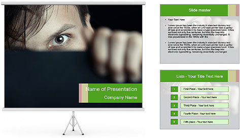 Man behind the black board PowerPoint Template