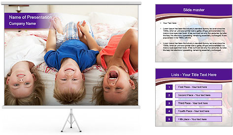 Children Down Bed PowerPoint Template