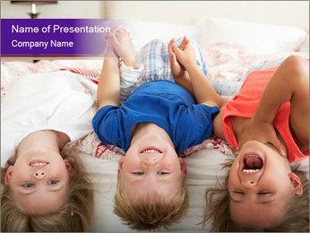Children Down Bed PowerPoint Templates - Slide 1