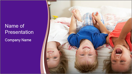 Children Down Bed PowerPoint Template