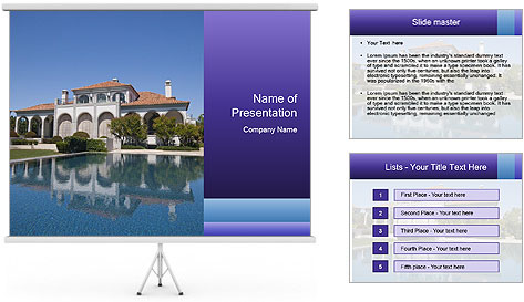 Swimmingpool and blue sky PowerPoint Template