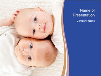 Two baby PowerPoint Template - Slide 1