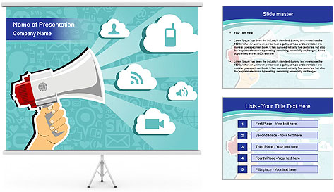 Hand holding a megaphone PowerPoint Template