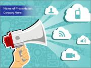 Hand holding a megaphone PowerPoint Templates