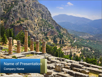 Ruins of Apollo temple PowerPoint Template - Slide 1