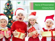 Four children in Christmas PowerPoint Templates