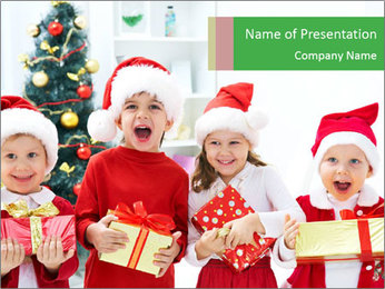 Four children in Christmas PowerPoint Template - Slide 1