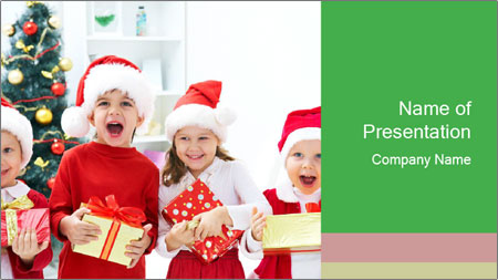 Four children in Christmas PowerPoint Template