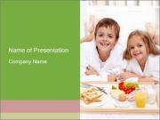 Healthy kids having a light breakfast PowerPoint Template