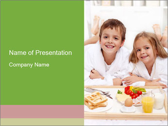 Healthy kids having a light breakfast PowerPoint Template - Slide 1