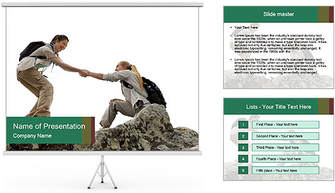 Hiker woman helps PowerPoint Template