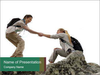 Hiker woman helps PowerPoint Templates - Slide 1