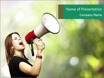 Woman shouting using megaphone PowerPoint Template