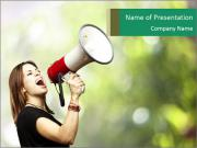 Woman shouting using megaphone PowerPoint Templates