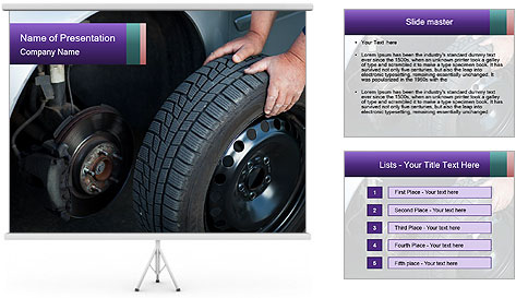 Mechanic changing a wheel PowerPoint Template