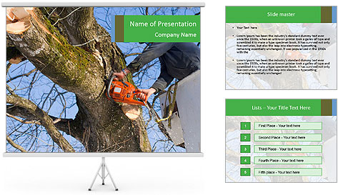 A tree surgeon cuts PowerPoint Template