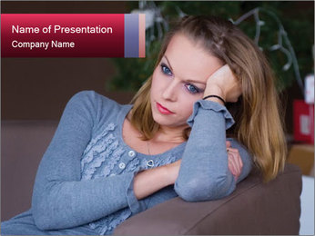 Sad woman PowerPoint Template