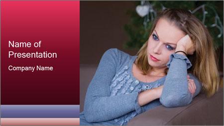 Sad woman PowerPoint Template