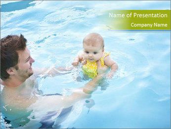 Baby's first swim PowerPoint Template - Slide 1