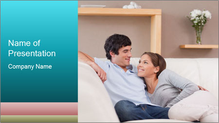 Couple on the sofa in love PowerPoint Template