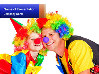 Two smiling clowns PowerPoint Template - Slide 1