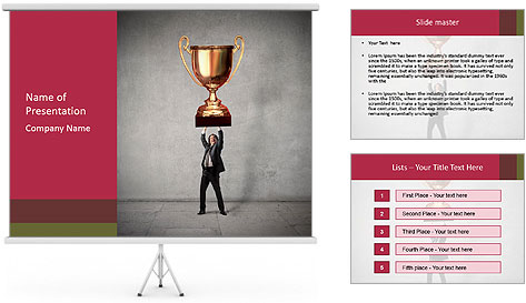 Triumphing businessman PowerPoint Template