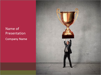 Triumphing businessman PowerPoint Template - Slide 1