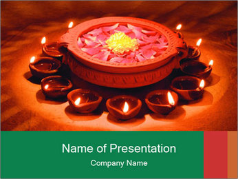Indian oil lamp PowerPoint Template - Slide 1