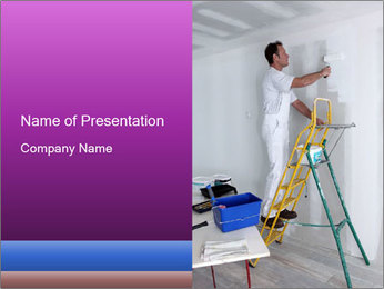 Man painting wall PowerPoint Templates - Slide 1