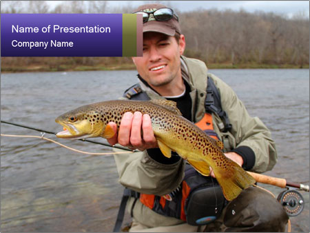 A fly fisherman PowerPoint Templates