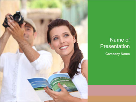Tourists with camera PowerPoint Template